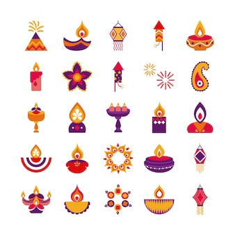 Bundle of twenty five diwali set flat style vector illustration design
