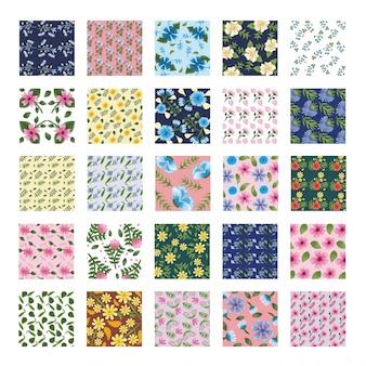 Bundle of twenty five flowers patterns backgrounds