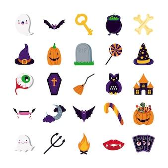 Bundle of twenty five halloween set collection icons vector illustration design