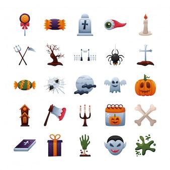 Bundle of twenty five halloween set collection icons