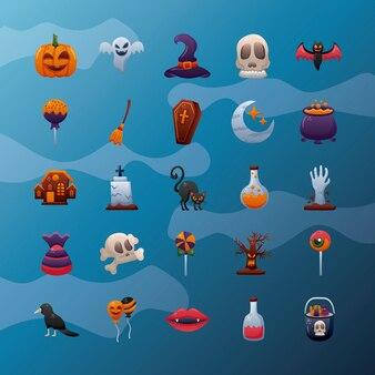 Bundle of twenty five halloween set icons