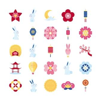Bundle of twenty five mid autumn set collection icons vector illustration design