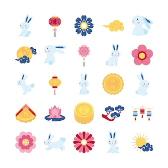 Bundle of twenty five mid autumn set icons vector illustration design