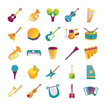 Bundle of twenty five musical instruments set collection icons vector illustration design
