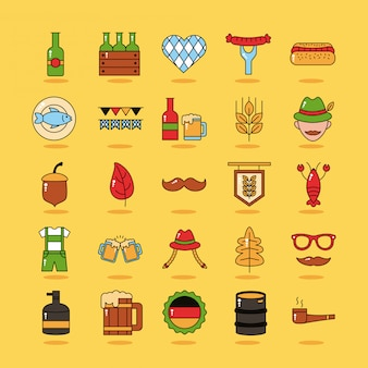 Bundle of twenty five oktoberfest set collection icons
