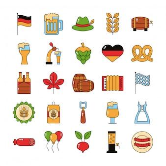 Bundle of twenty five oktoberfest set icons