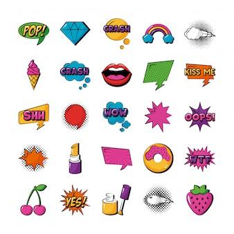 Bundle of twenty five pop art set collection icons