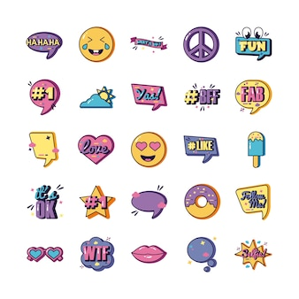 Bundle of twenty five slang set collection icons