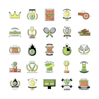 Bundle of twenty five sport tennis set icons