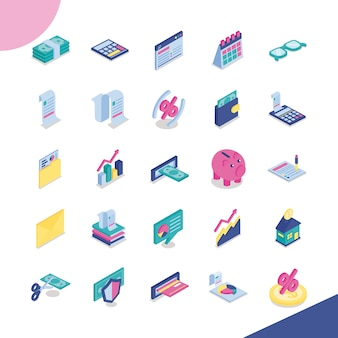 Bundle of twenty five taxes set icons