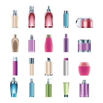 Bundle of twenty skin care bottles products icons  illustration