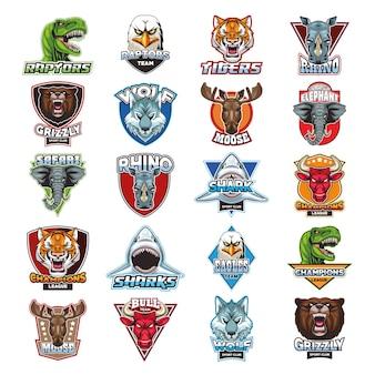 Bundle of twenty wild animals heads emblems  illustration