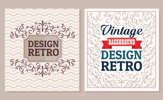 Bundle of two vintage banners with frames retro style design
