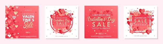Bundle of valentines day special offer banners with hearts and golden foil elements