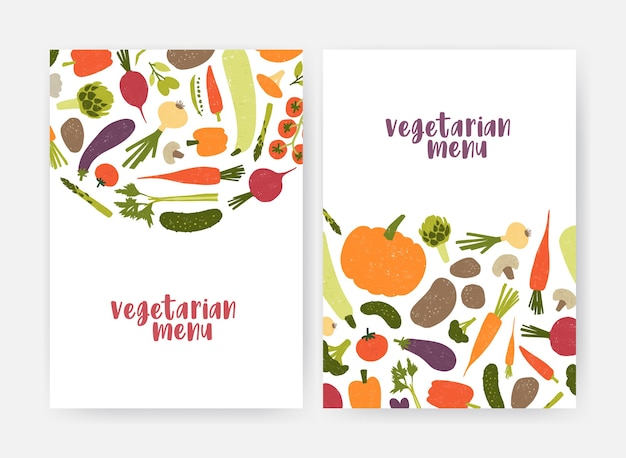 Bundle of vegan menu cover templates decorated with tasty natural fresh raw vegetables and mushrooms