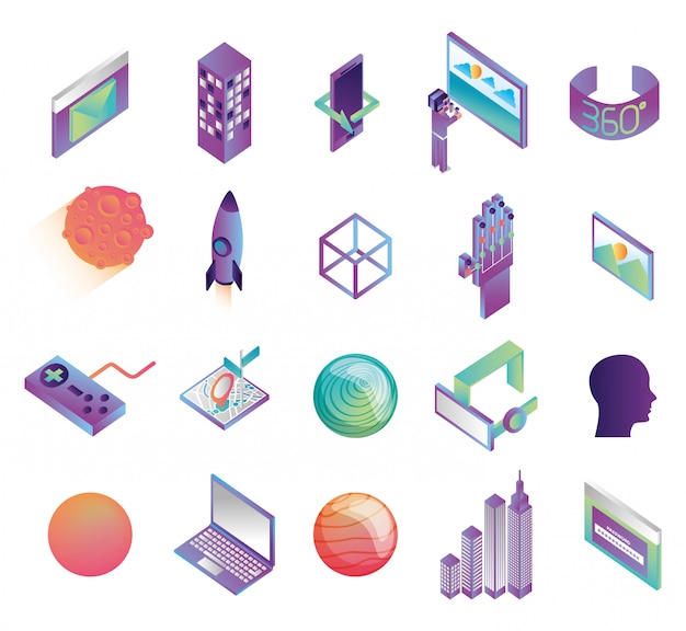 Bundle of virtual reality technology icons