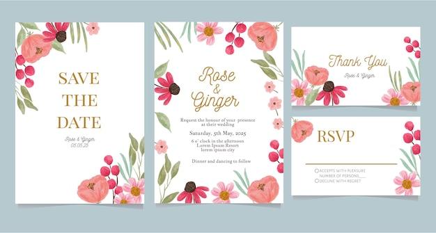 Bundle of  watercolor floral wedding card Premium Vector