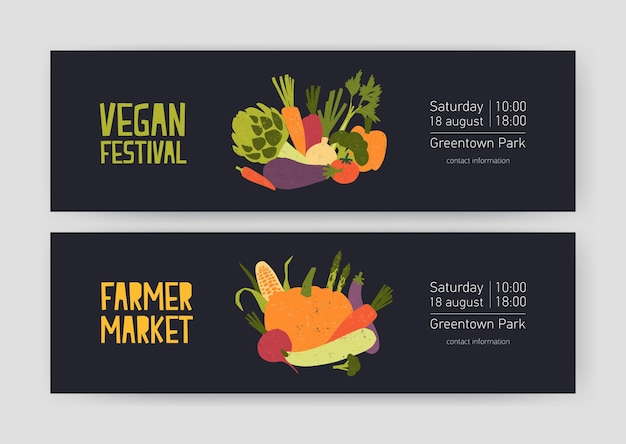Bundle of web banner templates with harvested crops and gathered vegetables and place for text on black