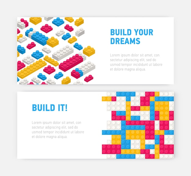 Bundle of web banner templates with plastic construction details, interlocking toy bricks, building blocks, parts or pieces on white