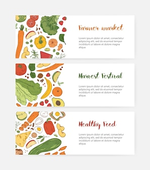 Bundle of web banner templates with wholesome food, fresh fruits and vegetables, delicious dietary nutrition on white background.