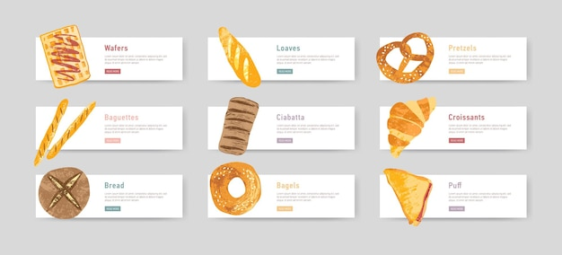Bundle of web banners with fresh and tasty bread, pastry or baked products and place for text