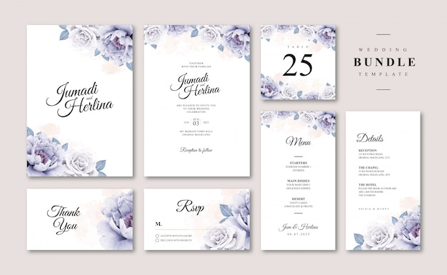 Bundle of wedding card template with floral watercolor