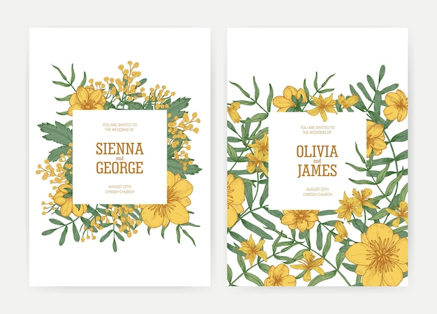 Bundle of wedding party celebration invitation templates with yellow blooming tansy and buttercup flowers