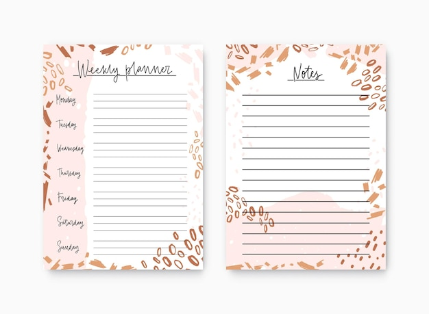 Bundle of weekly planner and notes page templates decorated by colorful artistic scribble, daub and paint stains