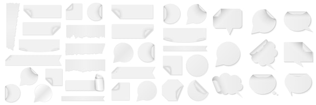 Bundle of white paper stickers of different shapes with curled corners isolated