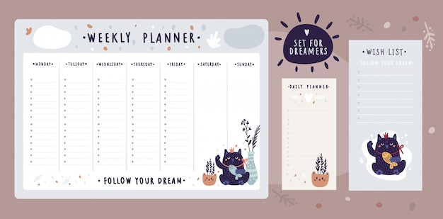 Bundle of wish list templates and planner for dreamers