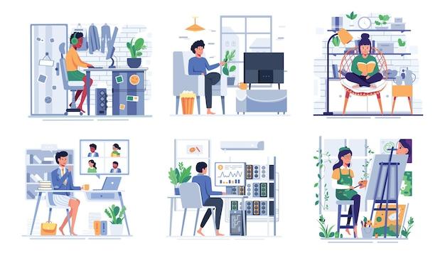 남자의 라이프 스타일을 번들로 묶고 만화 캐릭터, 평면 그림에서 집에서 소셜 미디어에 노트북 및 스마트 폰을 사용하십시오.