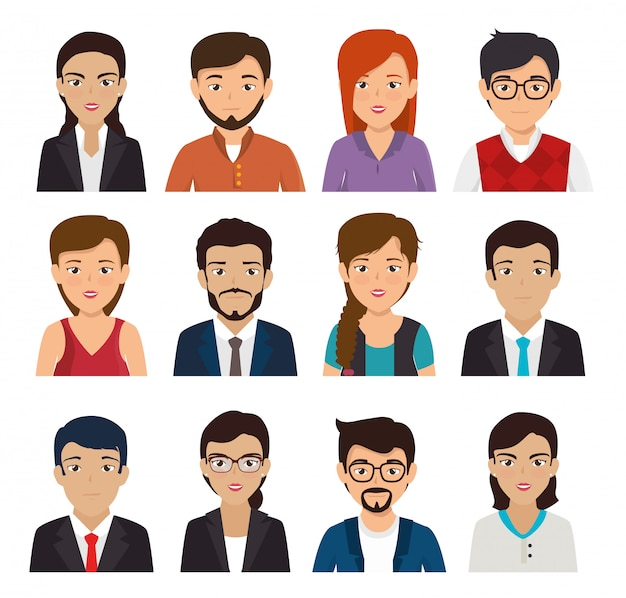 Bundle with set of face business people