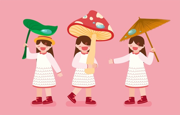 Bundle with three girls holding leaf, mushroom and umbrella in rainy day on pink background in cartoon character