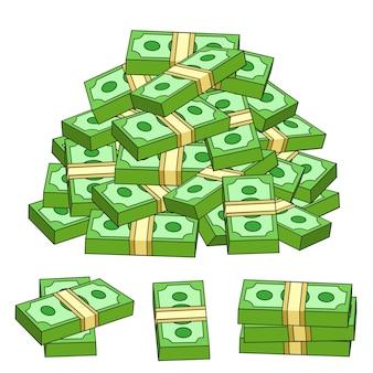 흰색 배경에 격리된 혼란스러운 더미에 달러 지폐 뭉치가 쌓여 있습니다. 만화 스타일의 벡터 일러스트 레이 션