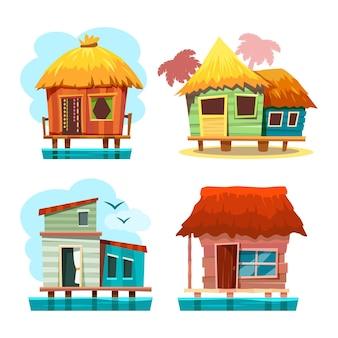 バンガローの家または島の別荘、漫画イラスト。夏休みや漁業のための熱帯の小屋やテント。ヤシの木のキャビン、シーリゾートコテージ