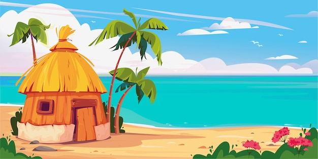 Bungalow on maldives island with palm trees and tropical flowers resort water villas vector banner