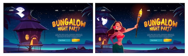Bungalow night party website with woman and resort wooden house at night