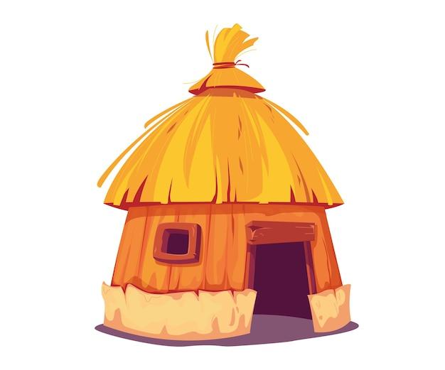 초가 지붕이 있는 방갈로. 오두막은 섬 주민들과 아프리카 부족의 전통적인 집입니다. 만화 스타일의 벡터 일러스트 레이 션. 흰색 배경에 고립 된 클립 아트