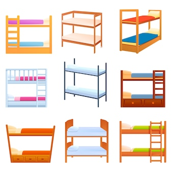 Bunk bed icons set, cartoon style