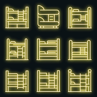 Bunk bed icons set. outline set of bunk bed vector icons neon color on black