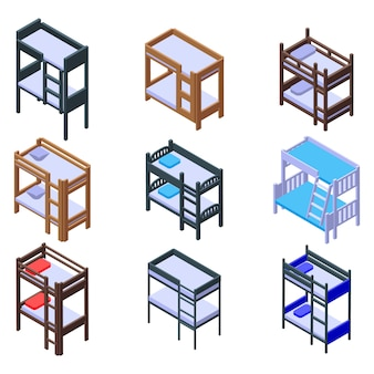 Bunk bed icons set