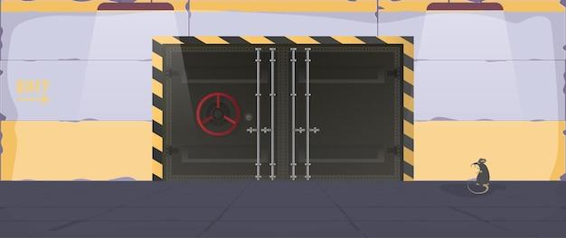 Бункер в плоском стиле. большие металлические двери из бункера. бронированная дверь. вектор.