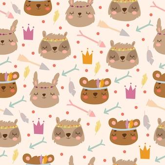 Boho 스타일에서 토끼, 곰 및 화살표 원활한 패턴