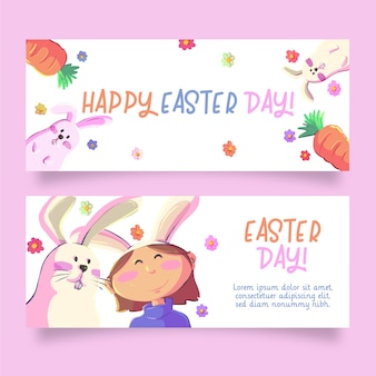 Bunnies and carrots easter banners