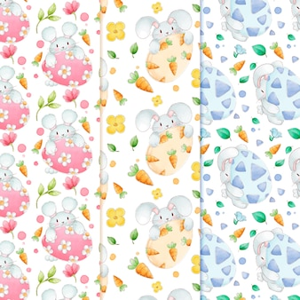 Bunnies carrying easter eggs watercolour pattern