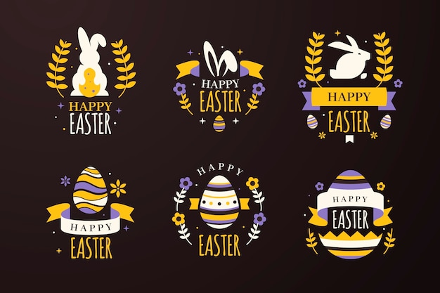 Bunnies and eggs with wheat easter badges