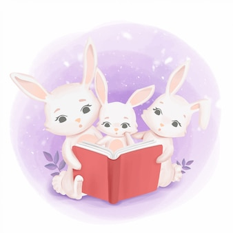 Bunnies family reading a book