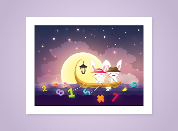 Bunnies fishing vector illustration
