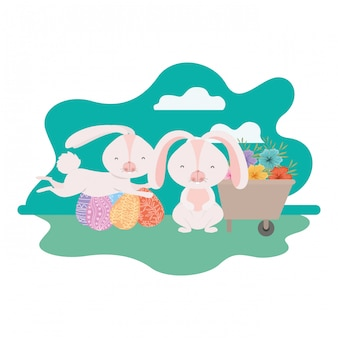 Bunnies on landscape with easter egg icon