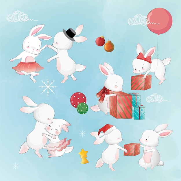 The bunnies party in the christmas
